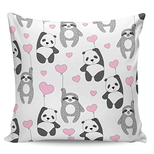 Scrummy Throw Pillow Covers 18' x 18' Happy Valentine's Day Cute Sloth Panda Pink Love Heart Decorative Pillowcases Square Cushion Cover for Home Decor
