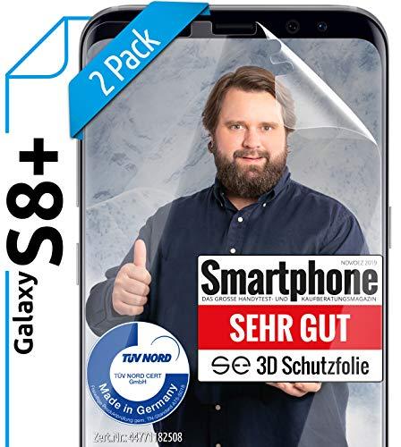 [2 Stück] 3D Schutzfolien kompatibel mit Samsung Galaxy S8 Plus - [Made in Germany - TÜV NORD] – HD Bildschirmschutz-Folie - Hüllenfre&lich – Transparent – kein Schutz-Glas - Panzer-Folie TPU