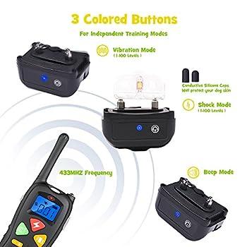 WOLFWILL Collier de Dressage P01 Totalement Etanche IP67 Portée 1500 Pieds pour Chien Press & Act Tech avec Mode Bip/Vibration/Choc/Lumière LED,Ecran LCD,Bouton Coloré -Deux Colliers