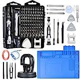 Precision Screwdriver Set Phone Repair Kit, 130 in 1 DIY Repair Tools Kit with Anti-Static Mat ESD Wristband, Screw Driver Kit for Electronics/Phone/Pad/Laptop/Eyeglass/Xbox/PS4/Camera (Black)