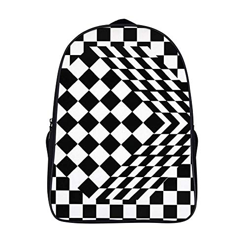 XIAHAILE Mochila de estilo clásico para portátil Multiusos Daypacks,Ilusión óptica de cubo blanco