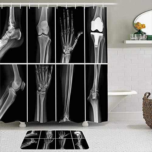 Juego de cortinas y tapetes de ducha de tela,Ray Collage Muchas radiografías Cirugía Muy mal Buena Asistencia sanitari,cortinas de baño repelentes al agua con 12 ganchos, alfombras antideslizantes