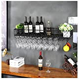 ガラスホルダー付きワインラック、壁に取り付けられた金属製のワインボトルホルダー、吊り下げ用脚付きグラスの保管用ラック、バー/キッチン/キャビネット用のワイン棚、ブラック バー用品 工業用装飾デザイン