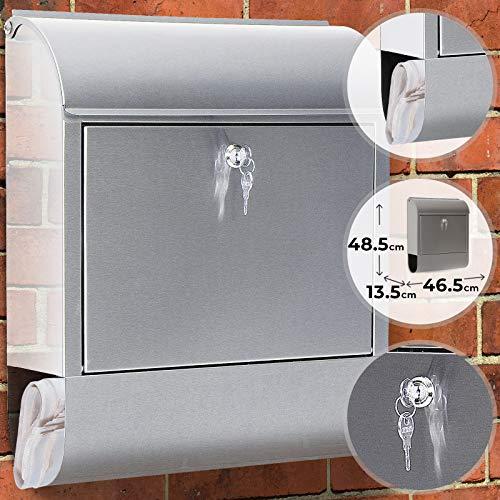 Buzón de correos de pared de acero inoxidable con compartimiento para el...