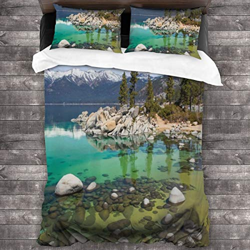 Duvet cover bedding Set,United States Picture California Sierra Nevada Lake Tahoe Rocky Mountains,3 Piece Set bedding with 2 pillowcases,Double(200 * 200cm)