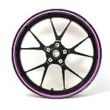 Strisce adesive per cerchioni, larghezza 7 mm, neon con strumento di montaggio da 16', 17', 18', 19', accessori per auto, moto, adesivi per cerchioni (rosa neon, rosa)