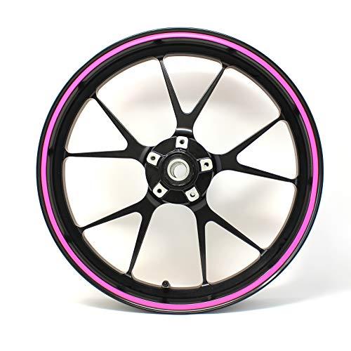 Pegatina para borde de llanta, rayas de 7 mm de ancho, neón, con herramienta de montaje de 16, 17, 18 y 19 pulgadas, accesorio para llantas de coche o moto, color rosa neón