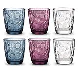 BORMIOLI ROCCO Diamond Bunte Gläser Set 6 teilig - 300ml - Trinkgläser bunt, Wassergläser Set, Trinkgläser farbig, Saftgläser