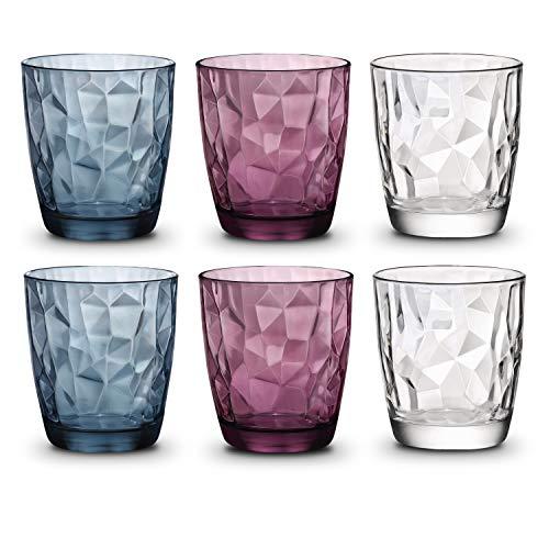 BORMIOLI ROCCO Gläser bunt 300 ml | Diamond | Wassergläser Set bunt | Gläser Set 6 teilig | Trinkgläser bunt spülmaschinenfest | 3 farbig: blau, violett, klar | Bunte Trinkgläser mit robustem Design
