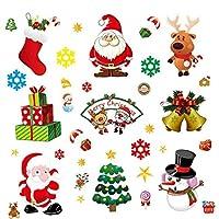 10個入り ホームデコレーションステッカー メリークリスマスウィンドウウォールステッカー ステッカースノーフレークサンタクロース ホームクリスマス オーナメント 装飾