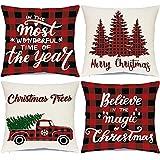 Ueerdand Christmas Decorations Pillow Covers 18 x 18 Inches Christmas Decor Black and Red Buffalo Plaid Throw Pillowcase Farmhouse Xmas Cushion Case for Home Decor Set of 4