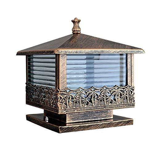 JJZXD Lámpara de Poste de Puerta de jardín de luz de Pilar Vintage de Bronce Negro Linterna de Vidrio Patio Exterior Iluminación de Paisaje Lámpara de Noche (Color : A)