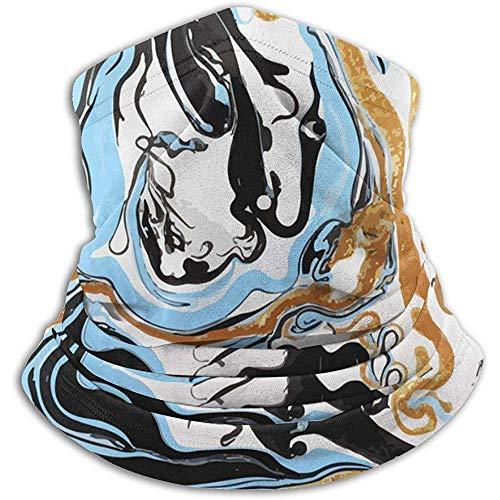 Archiba Bleu Blanc Or Et Noir Marbre Texture Polaire Thermique Cache-Cou/Cache-Cou Écharpe Visage/Visage Couverture Visage