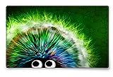 Silent Monsters Mauspad Größe L (360 x 250 mm) Stoff Mousepad Design: Green Hedgehog - Vernähter Rand geeignet für Office und Gaming Maus