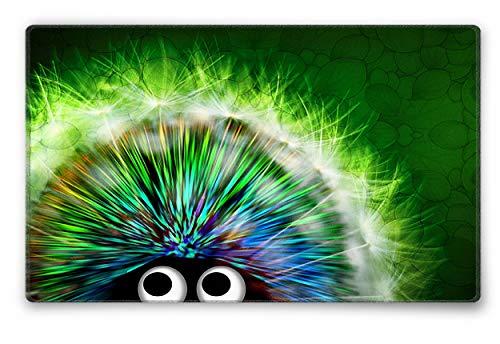 Silent Monsters Mauspad Größe S (240 x 200 mm) Stoff Mousepad Design: Green Hedgehog, Vernähter Rand, geeignet für Büro und Gaming Maus