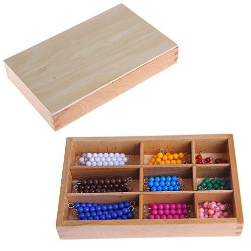 JAGENIE Montessori Mathematik Material 1-9 Perlen Stab in Holzbox Frühvorschule Spielzeug