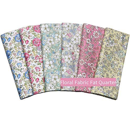 Fat Quarters mit Rosen- / Blumenmuster, Quiltingstoff-Bündel, hochwertiger Baumwollstoff zum Nähen, Basteln, 46 x 56 cm, 6 Stück
