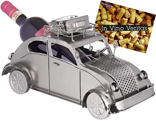 Brubaker Weinflaschenhalter Urlaubsreise - Retro Auto mit Gepäck auf dem Dach - Flaschenständer aus Metall - mit Grußkarte für Weingeschenk