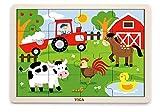 VIGAtoys Rompecabezas de madera, 16 piezas, diseño de granja
