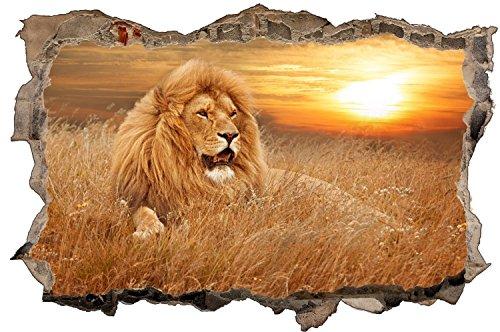 Löwe Safari Sonnenuntergang Wandtattoo Wandsticker Wandaufkleber D0856 Größe 70 cm x 110 cm