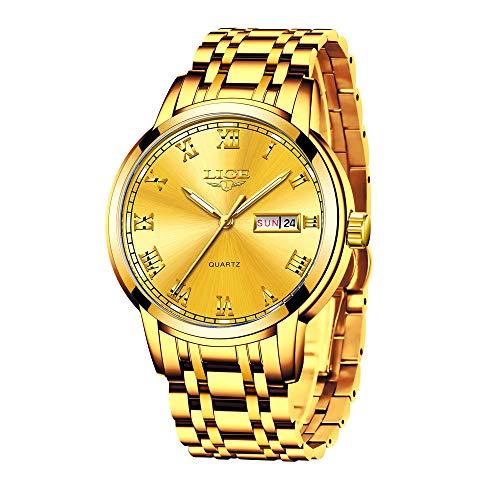 LIGE Relojes para Hombre Acero Inoxidable Impermeabile Cuarzo Analógico Reloj Negocios Vestido Dorado Reloj de Pulsera