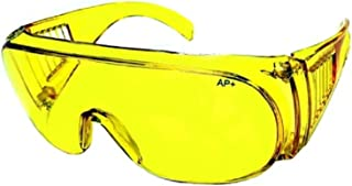 Fit Over Prescription Rx No Blind Spot Yellow Lens Wrap Safety Sunglasses - Night Driving, Clear, Smoke Lens