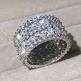 FISISZ Anillos de Plata esterlina 925 Mujeres, Corte Brillante, Anillo de Compromiso de Diamantes simulado, Conjunto de Anillos de joyería, 10, E