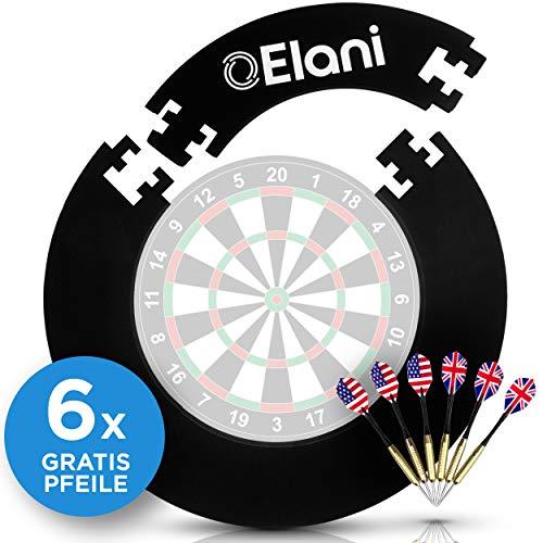 ELANI ® Dart Auffangring - inklusive sechs Steeldarts und Zwischenring - Premium Wandschutz für die Dartscheibe und die Dartpfeile - passgenau für alle Standard Dartscheiben