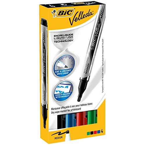 BIC Velleda Pocket rotuladores de Pizarra Punta Ancha – colores Surtidos, Blíster de 4 unidades
