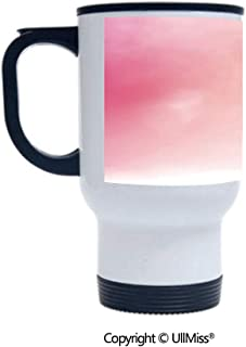 Stylish Stainless Steel Attractive And Distinctive Design 14OZ Travel Mug Cup Blurred Background Changing Colors Ombre Inspired Composition Dreamy Display,Pink Peach White Suitable For Hot And Cold D