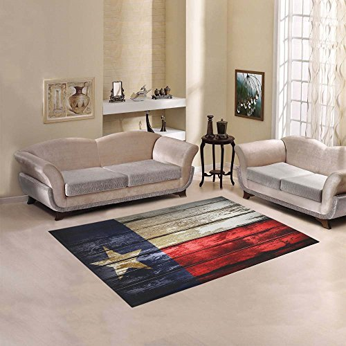 "Custom Closeup of Texas Flag Area Rug Cover Indoor/Outdoor Decorative Floor Rug 5'3""x4'"