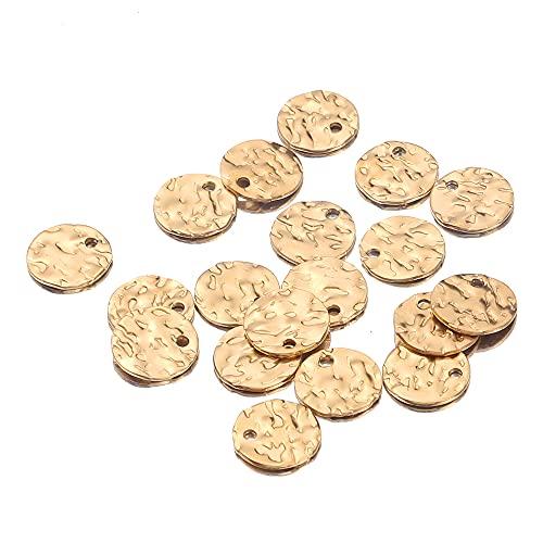 SFSD807 20pcs / lot Texture Charms 8mm 10 mm 12 mm Etiquetas de acero inoxidable chapado en oro redondas Revestimientos de monedas en blanco para el collar DIY Pulsera Haciendo Búsqueda de joyas