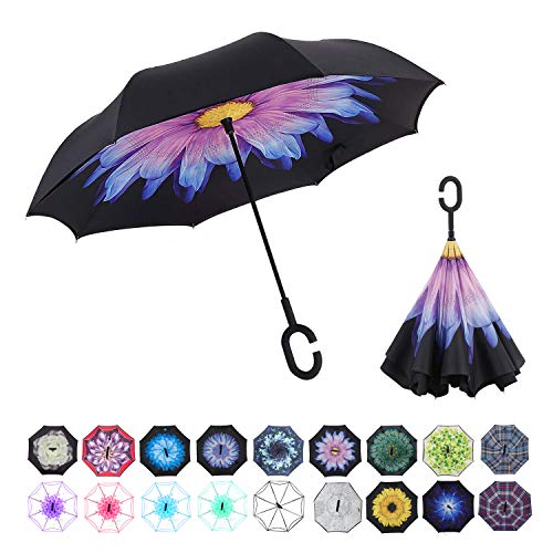 WASING Double Layer Inverted Umbrella Cars Reverse Umbrella, Windproof UV Protection Big Straight Umbrella for Car Rain Outdoor with C-Shaped Handle