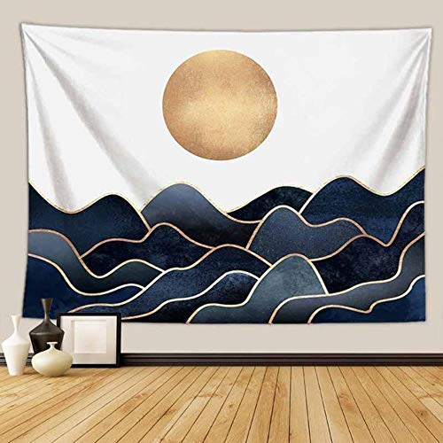 Psicodélico paisaje natural montaña sol tapiz colgante de pared Hippie decoración de fondo tapiz tela fina colcha alfombras de pared