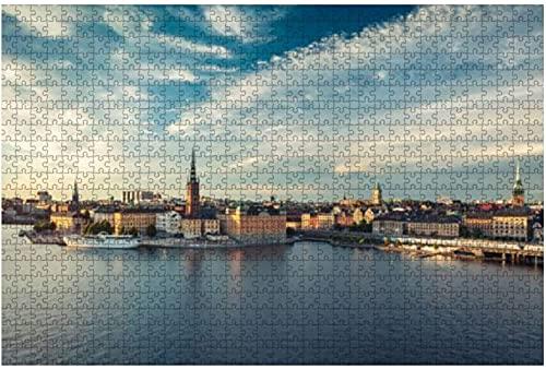 500 stycken-panoramautsikt över Stockholm Gamla Stan, Sverige Vattenstad Lager Trä Pussel DIY Barn Pedagogiskt pussel Vuxen Dekomprimering Present Kreativa Spel Leksaker Pussel