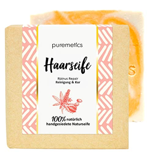 "puremetics Zero Waste Haarseife ""Rizinus Repair"" | natürlich, vegan & plastikfrei | Handgesiedete Naturseife | Haarseife Shampoo Bar ohne Tenside | Festes Shampoo ohne Plastik"