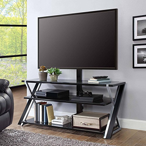 Whalen Xavier 3-in-1 TV Stand for TVs up to 70', with 3 Display Options for Flat Screens, Black with Silver Accents
