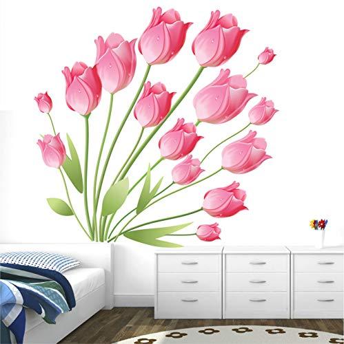 StickMe Pegatinas de pared con diseño de tulipán rosa que florecen hermosas flores, SM1020 (vinilo de PVC, 100 cm x 100 cm)