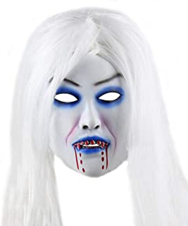 Halloween Horror Grimace Ghost Mask Scary Zombie Emulsion Skin with Hair