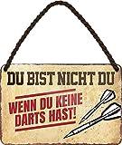 """Blechschilder Lustiger Spruch: """"DU BIST Nicht DU, WENN DU Keine Darts HAST"""" Deko Schild Geschenkidee für Dart Fans 18x12 cm"""