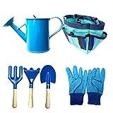 ELT Juego de herramientas de jardinería para niños, juguetes de jardín, regalos de jardín para niños con regadera, guantes de pala, rastrillo, bolsa de almacenamiento delantal