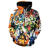 ZIMCA Men 3D Naruto Printed Pullovers Casual Pouch Pocket Drawstring Hoodies