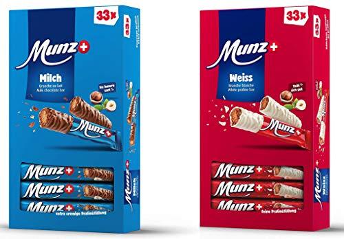 Set MUNZ Prügeli Milch + Weiß | Schweizer Schokolade | Branches Classic | 2 x 33 = 66 Praliné Schokoladenriegel | 1,58 kg Großpackung Mix | Maestrani Milchschokolade + Weiße Schokolade | Glutenfrei