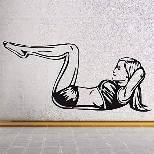 Chica fitness ejercicio pegatinas de pared sala de estar gimnasio fitness pegatinas de pared pintura decorativa pegatinas calcomanías A1 42x60cm