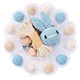 I LOVE MOM - DIY Holzperlen Schnullerkette,Baby Spielzeug Zahnen,Und Kaninchen,Häkeln Hölzerne Korne,Holz-clips,Kinderkrankheiten Halskette (Blau)