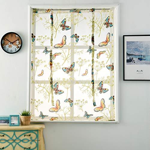 GWELL Schmetterling Raffrollo mit Tunnelzug Transparent Gardine Vorhang Voile Raffgardinen Schal für Kinderzimmer Schlafzimmer 1er-Pack 60 x 140 cm