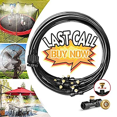 "LANDGARDEN Misting Mister Cooling System Water Irrigation Fan Misting Kit 33FT (10M) Misting Line + 12 Brass Mist Nozzles + 3/4"" and 1/2"" PVC Adapter for Outdoor Patio Garden Greenhouse"