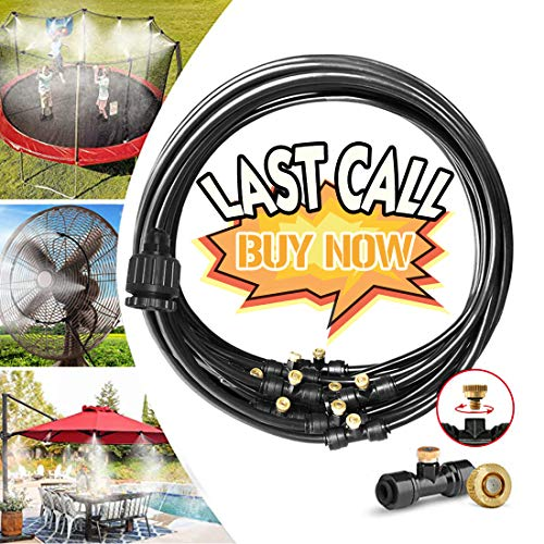 Misting Cooling System Water Irrigation Fan Misting Mister Kit 33FT (10M) Misting Line + 12 Brass Mist Nozzles + 3/4 and 1/2 PVC Adapter for Outdoor Patio Garden Greenhouse