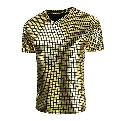 SSBZYES Camiseta para Hombre Camiseta De Verano con Cuello Camiseta De Manga Corta con Rombo Informal Camiseta De Manga Corta con Cuello En V a La Moda Camiseta con Fondo Brillante Camiseta Casual