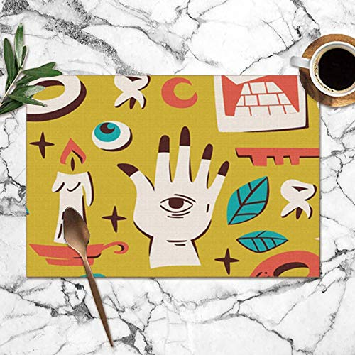 Bright color Placemats Set of 6,Magic Elements Skull Tarot Alchemy Miscellaneous Heat-Resistant Placemats Washable Table Mats for Kitchen Dining Table 12X18 inch